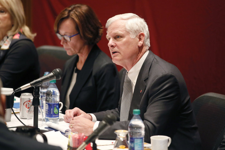 Photo - University of Oklahoma President James Gallogly speaks during an OU Board of Regents meeting in Oklahoma City, Wednesday, Jan. 30, 2019. Photo by Bryan Terry, The Oklahoman