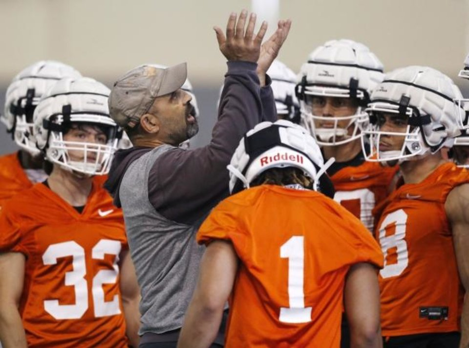 Photo -  OSU offensive coordinator Kasey Dunn will be looking to add as many as four receivers in the 2021 recruiting class. [Nate Billings/The Oklahoman]
