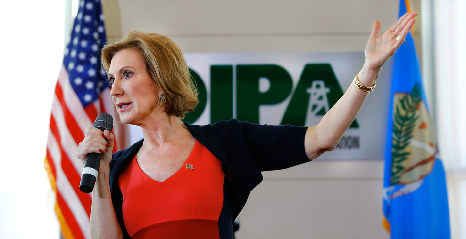 Photo - Carley Fiorina speaks to about 200 people Tuesday afternoon, Sep. 29, 2015, at the Oklahoma Independent Petroleum Association office in Oklahoma City. Texas Sen. Ted Cruz announced Wednesday that he chose Fiorina as his running mate for the presidency. Photo by Jim Beckel, The Oklahoman.