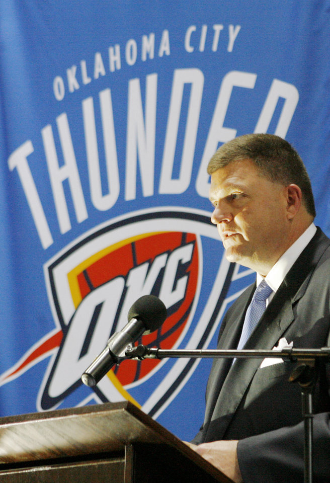 Photo - Team chairman Clay Bennett speaks during the unveiling of the Oklahoma City Thunder NBA team name at Leadership Square in downtown Oklahoma City, Wednesday, September 3, 2008. NATE BILLINGS, THE OKLAHOMAN