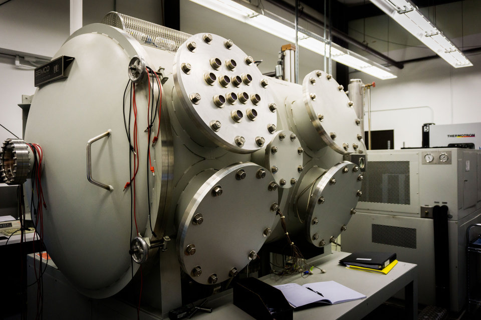 Photo -  A thermal vacuum chamber is part of Frontier Electronic Systems' testing equipment used to ensure that the products will function properly in outer space.
