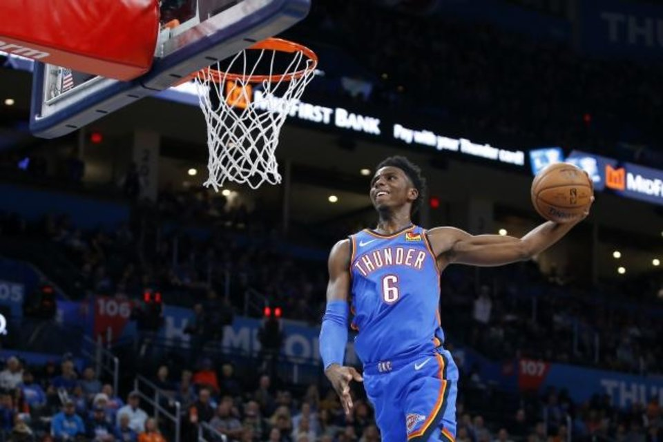 Photo -  Hamidou Diallo rises for a dunk against the Pelicans. Diallo, set to begin his third season, is the Thunder's longest-tenured player. [Bryan Terry/The Oklahoman]