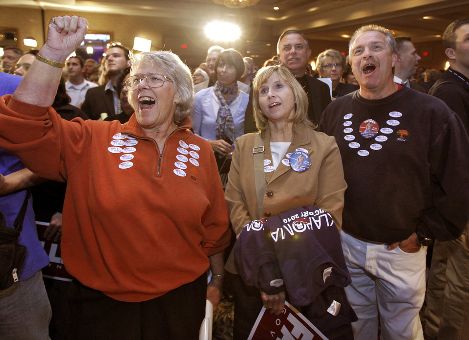Photo - Republican supporters Lana Tyree, Denise Tidwell and Joe Moss, from left, react as results in favor of the GOP are announced at the republican Watch Party at the Marriott on Tuesday, Nov. 2, 2010, in Oklahoma City, Okla.   Photo by Chris Landsberger, The Oklahoman