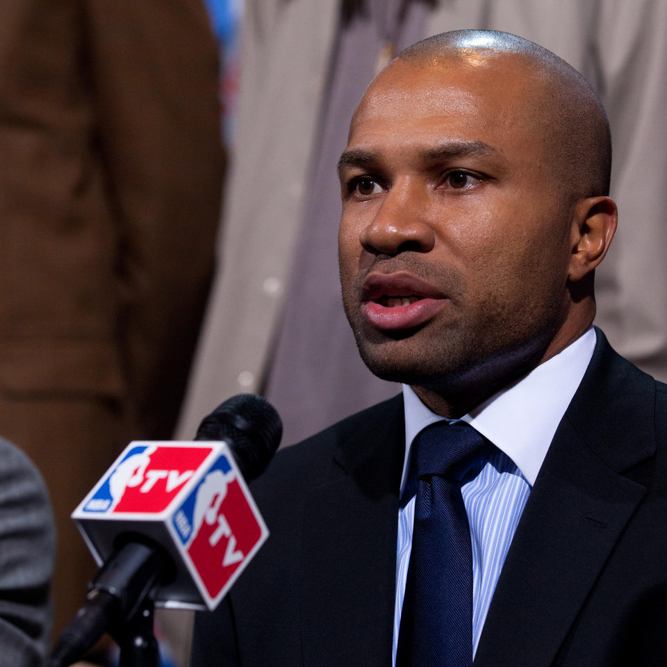 Photo - NBA Players Association president Derek Fisher speaks during a news conference Thursday, Nov. 10, 2011, in New York. The NBA and its players are hitting pause in their negotiations as the union considers the league's latest revised offer. The league offered a revised offer after nearly 11 hours of bargaining Thursday. It's based on the possibility of a 72-game season, starting Dec. 15. (AP Photo/John Minchillo)