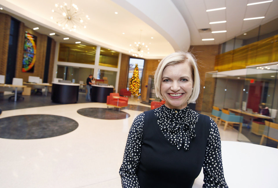 Photo -  Jill Castilla, president and CEO of Citizens Bank of Edmond, in the lobby of her bank. [Photo by Nate Billings, The Oklahoman Archives]