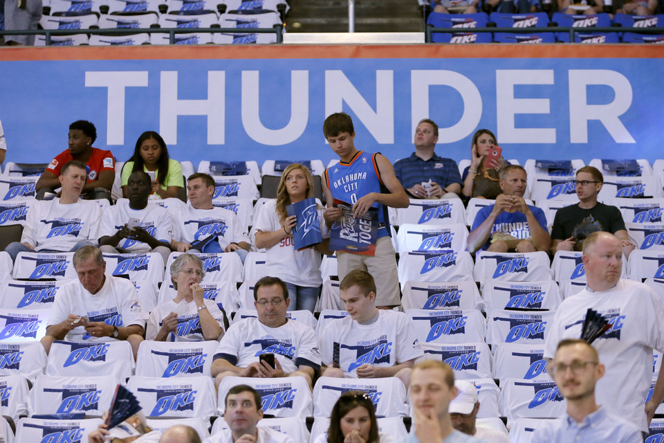 Photo - Thunder fans wait for the start of Game 3 of the Western Conference finals in the NBA playoffs between the Oklahoma City Thunder and the Golden State Warriors at Chesapeake Energy Arena in Oklahoma City, Sunday, May 22, 2016. Photo by Bryan Terry, The Oklahoman