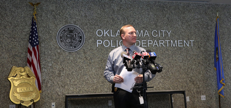 Photo - Oklahoma City Police Department Captain Larry Withrow talks about the shooting at Penn Square Mall the day before at OCPD headquarters in downtown Oklahoma City, Friday, December 20, 2019. [Photo by Doug Hoke/The Oklahoman]