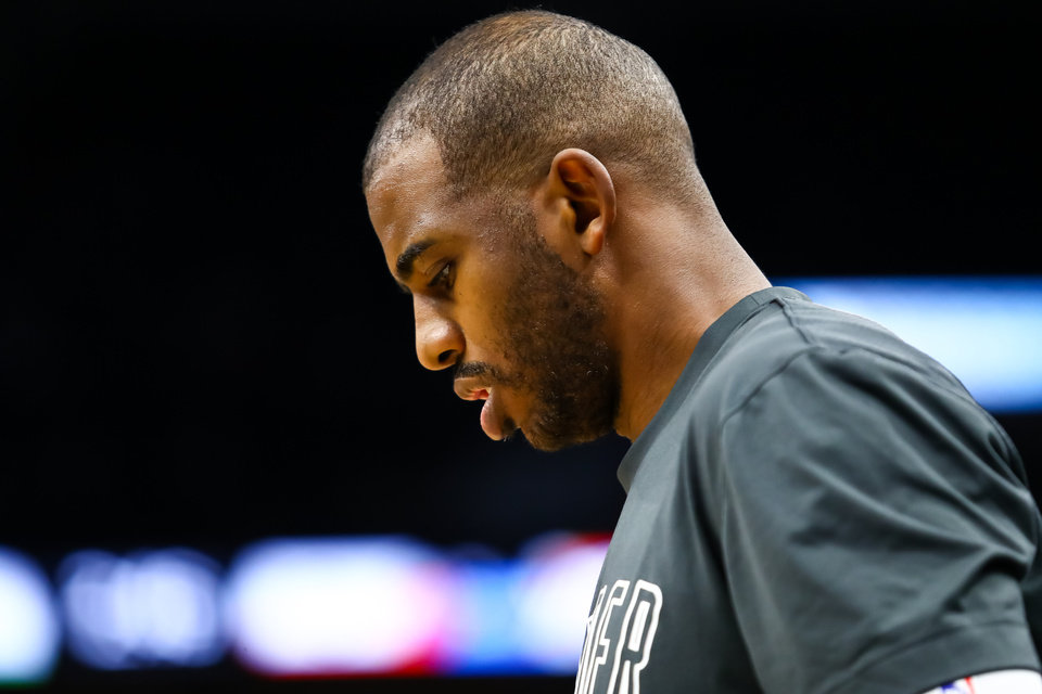 Photo - Jan 25, 2020; Minneapolis, Minnesota, USA; Oklahoma City Thunder guard Chris Paul (3) looks on before the start of a game against the Minnesota Timberwolves at Target Center. [David Berding/USA TODAY Sports]