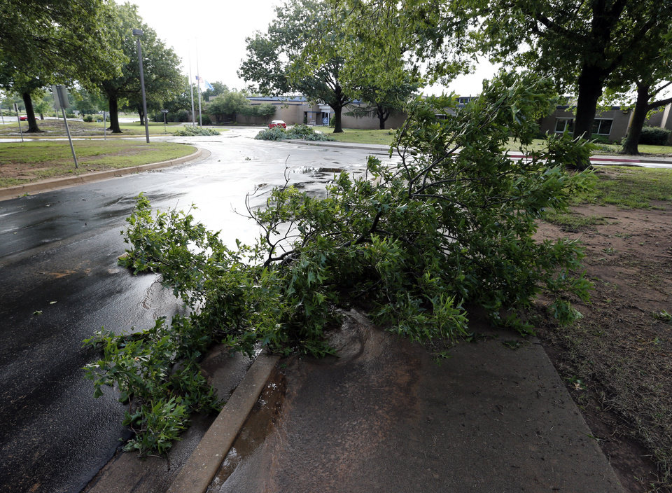 Photo - Downed  trees and a power outage at Moore Norman Technology Center's Norman campus on Saturday, June 1, 2013 in Norman, Okla.  illustrates the wind damage after Friday night's storm  Photo by Steve Sisney, The Oklahoman