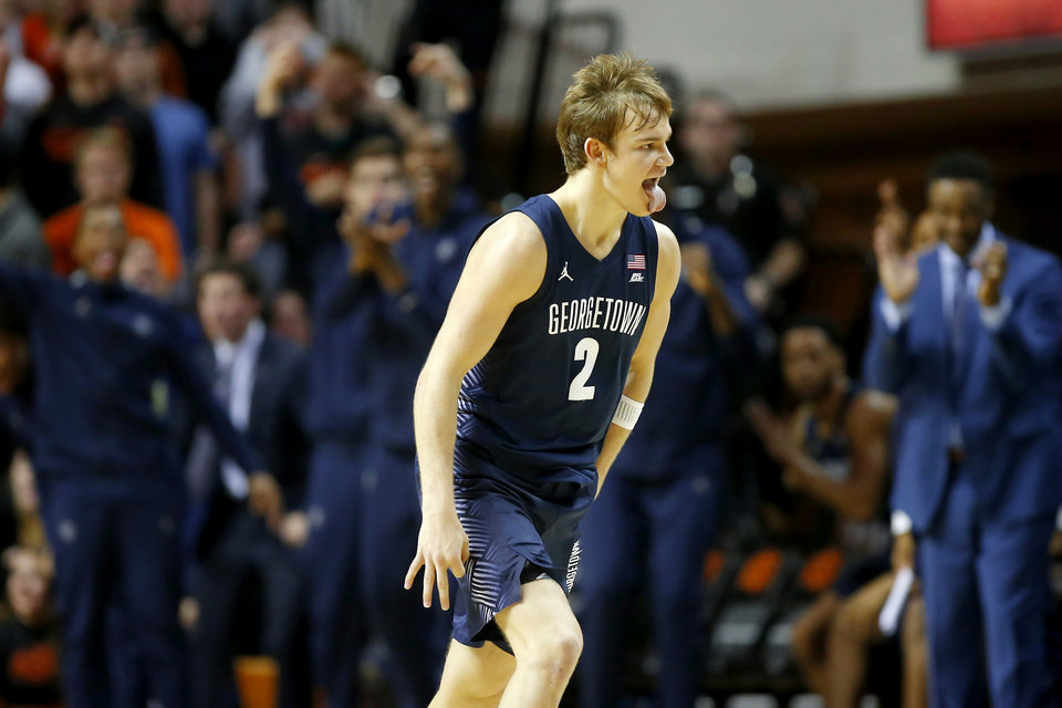Photo - Georgetown's Mac McClung (2) celebrates after making a basket during a college basketball game between the Oklahoma State University Cowboys (OSU) and the Georgetown Hoyas at Gallagher-Iba Arena in Stillwater, Okla., Wednesday, Dec. 4, 2019. Georgetown won 84-71. [Bryan Terry/The Oklahoman]
