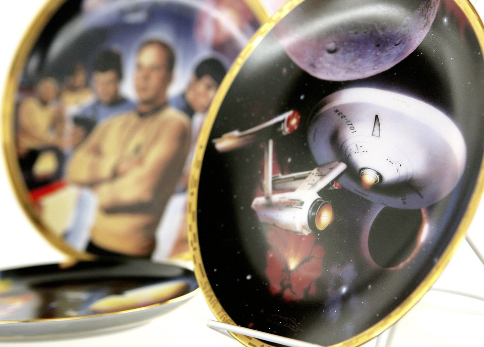 "Photo - ""Star Trek"" plates are among the memorabilia."