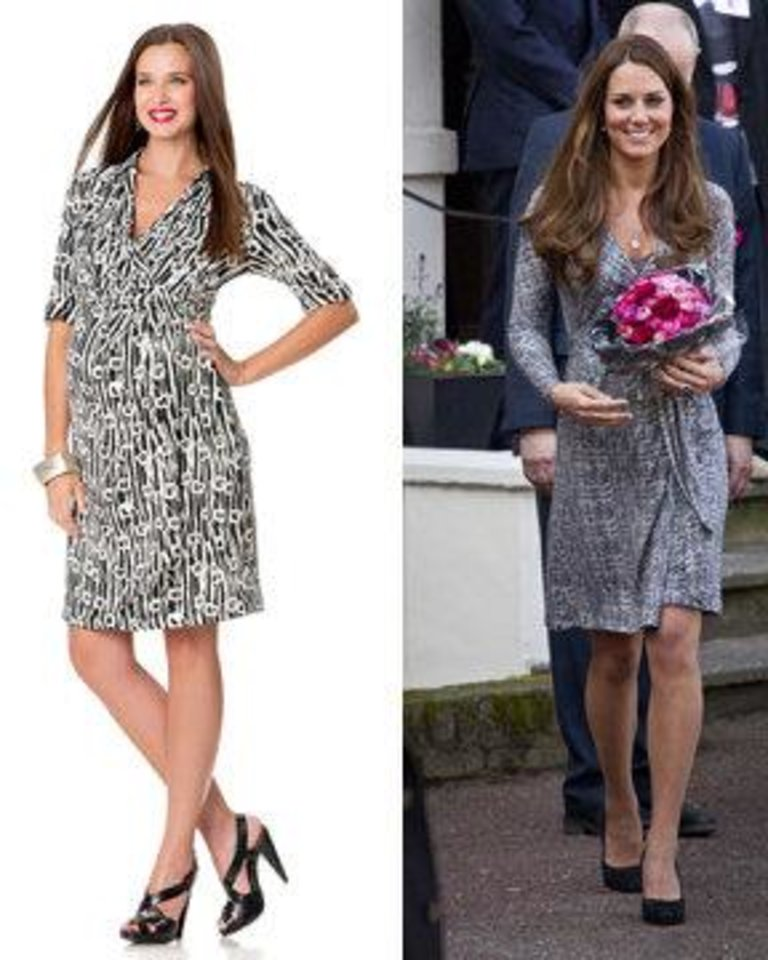 Photo - Left: Suzi Chin Maggy Boutique elbow sleeve maternity wrap dress with a black and white geometric pattern sold at A Pea in the Pod. Photo provided. Right: Pregnant Kate Middleton, Duchess of Cambridge, wears a Max Mara wrap dress. AP Photo.