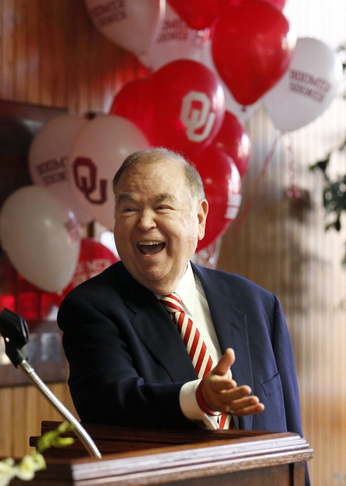 Photo - Pres. David Boren speaks after being honored for 50 years of public service during a regents meeting at Bird Library at the OU Health Sciences Center in Oklahoma City,  Thursday, Jan. 26, 2017. Photo by Sarah Phipps, The Oklahoman