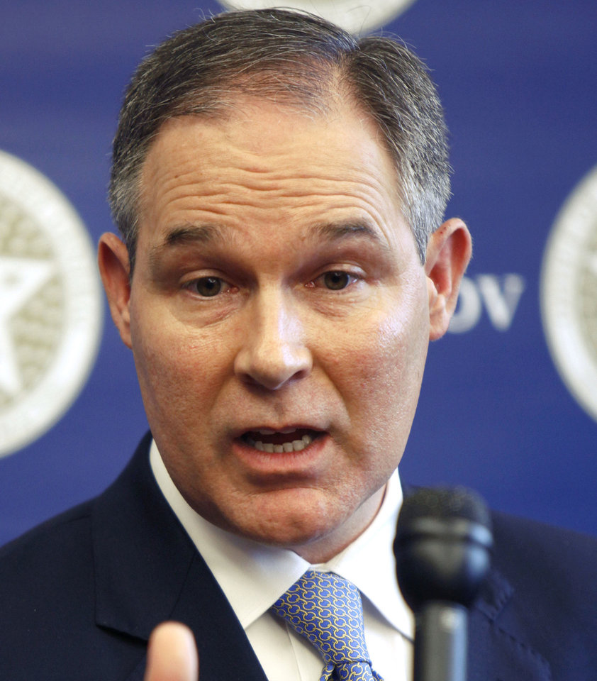 Photo - State Attorney General Scott Pruitt. Photo by Paul Hellstern, NewsOK archives