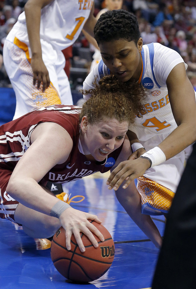 Photo - Oklahoma's Joanna McFarland (53) and Tennessee's Kamiko Williams (4) dive for a loose ball during the college basketball game between the University of Oklahoma and the University of Tennessee at the  Oklahoma City Regional for the NCAA women's college basketball tournament at Chesapeake Energy Arena in Oklahoma City, Sunday, March 31, 2013. Photo by Sarah Phipps, The Oklahoman