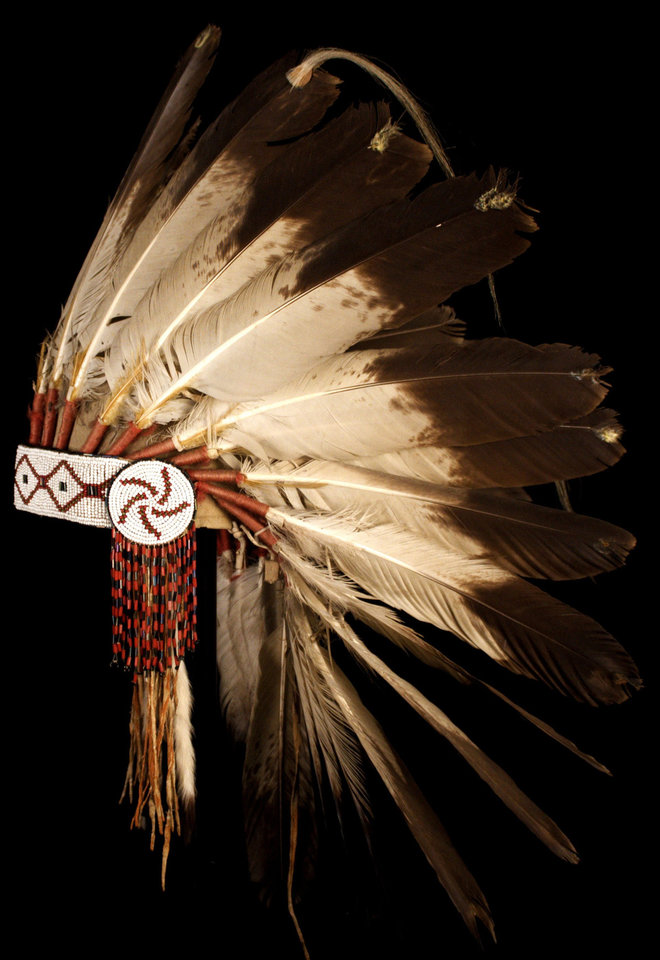 Photo - Eagle Feather Headdress North American Great Plains, Blackfoot attributed.  Ca. 1910. Feathers, felt, glass beads, cotton. Photo provided by National Cowboy & Western Heritage Museum.