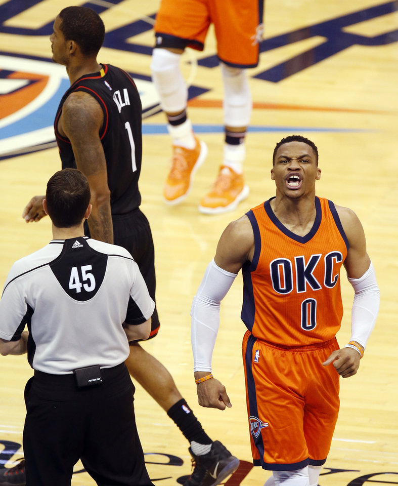 Photo -  Russell Westbrook's contract is the last big domino to potentially fall for the Thunder before the seasons starts in October. [PHOTO BY NATE BILLINGS, THE OKLAHOMAN]