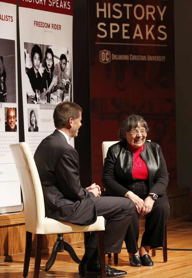 Photo - Oklahoma Christian University President John deSteiguer chats with civil rights activist Diane Nash during her visit on Tuesday to the metro area university. [Photo by Jim Beckel, The Oklahoman]