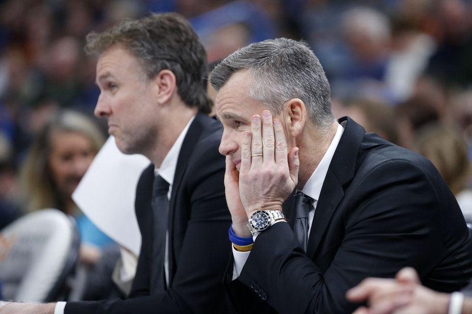 Photo - Oklahoma City coach Billy Donovan watches during an NBA basketball game between the Oklahoma City Thunder and Los Angeles Lakers at Chesapeake Energy Arena in Oklahoma City, Saturday, Jan. 11, 2020. [Bryan Terry/The Oklahoman]