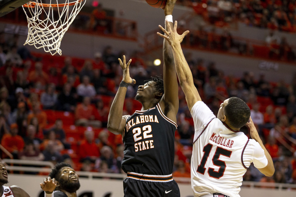 Photo - Oklahoma State's Kalib Boone shoots a layup during Oklahoma State's 73-70 victory over Texas Tech in the NCAA college basketball game in Stillwater, Okla., Saturday, February 15, 2020. (AP Photo/Mitch Alcala)