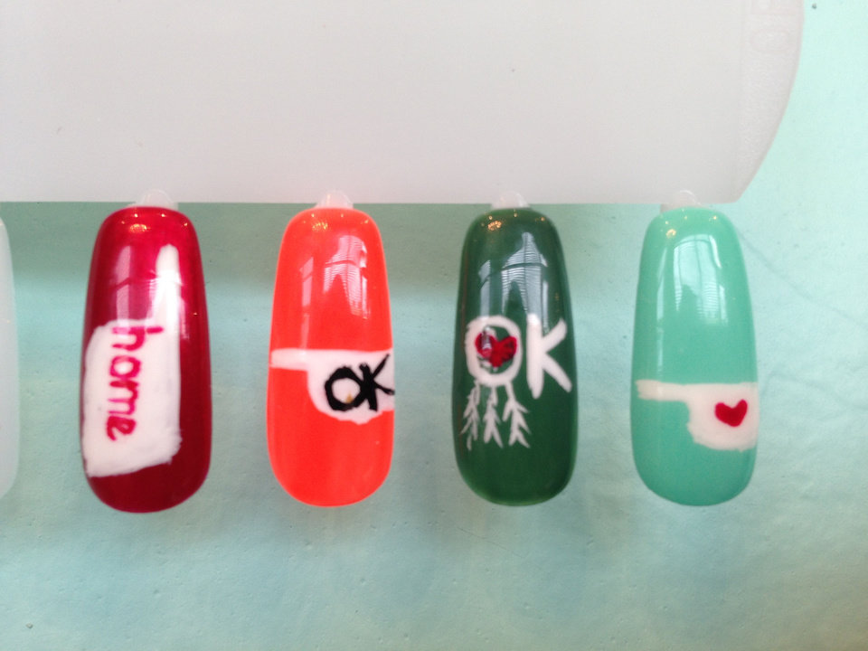 Oklahoma tornadoes express your support down to your fingertips photo polished nail salon locations are offering special oklahoma nail art art for one prinsesfo Image collections