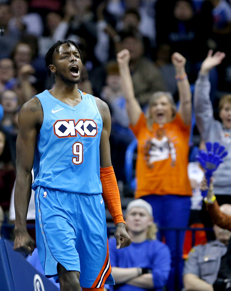 Photo - Oklahoma City's Jerami Grant (9) celebrates a basket during the NBA game between the Oklahoma City Thunder and the Orlando Magic at the Chesapeake Energy Arena  Tuesday, Feb. 5, 2019. Photo by Sarah Phipps, The Oklahoman