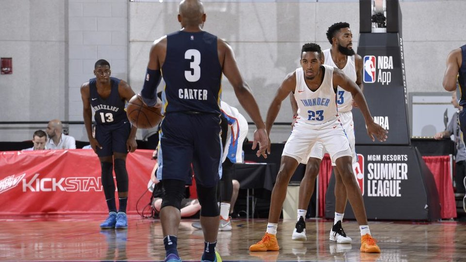 Photo - LAS VEGAS, NV - JULY 12: Terrance Ferguson #23 of the Oklahoma City Thunder plays defense against the Memphis Grizzlies during the 2018 Las Vegas Summer League on July 12, 2018 at the Cox Pavilion in Las Vegas, Nevada. NOTE TO USER: User expressly acknowledges and agrees that, by downloading and/or using this photograph, user is consenting to the terms and conditions of the Getty Images License Agreement. Mandatory Copyright Notice: Copyright 2018 NBAE (Photo by David Dow/NBAE via Getty Images)