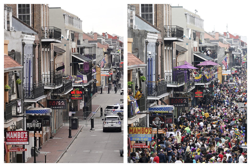 Photo -  This combination of Tuesday, Feb. 16, 2021, left, and Tuesday, Feb. 25, 2020 photos shows Bourbon Street in the French Quarter of New Orleans on Mardi Gras day. Between cold weather and COVID-19, morning streets were nearly empty rather than jam-packed with picnickers and parade watchers. All parades are canceled and bars throughout the city have been closed since Friday. (AP Photo/Gerald Herbert, Rusty Costanza)
