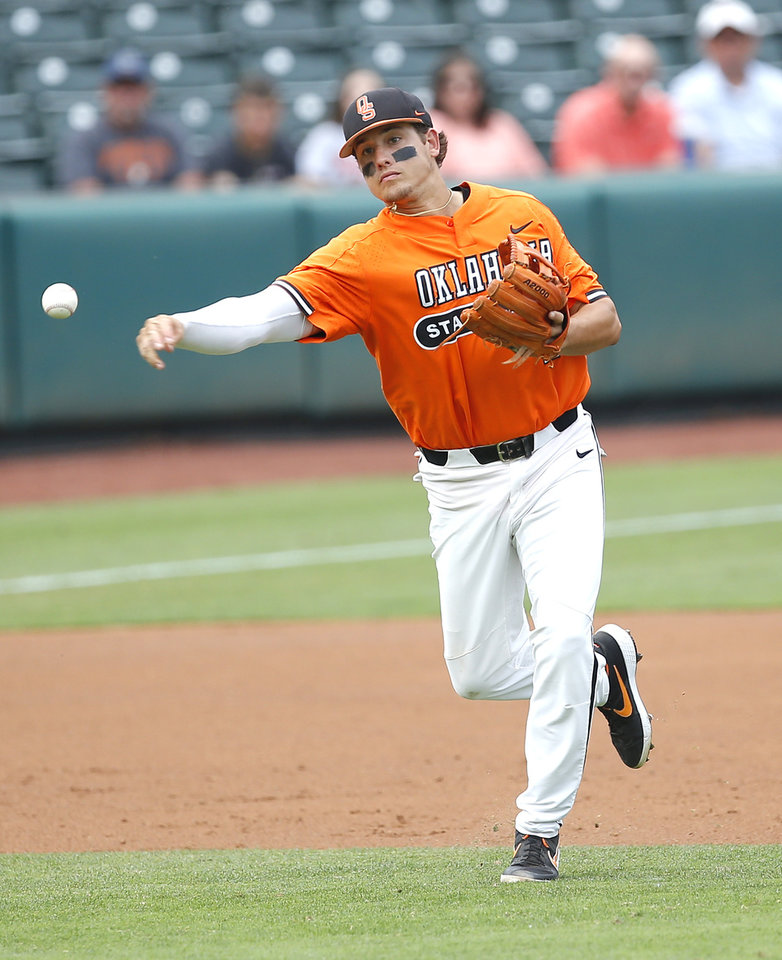 Photo - Oklahoma State's Christian Funk (2) throws to first in the 1st inning during the Oklahoma City Regional NCAA baseball game between Oklahoma State University (OSU) and UConn at Chickasaw Bricktown Ballpark in Oklahoma City,  Monday, June 3, 2019. [Sarah Phipps/The Oklahoman]