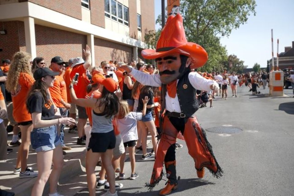Photo -  OSU mascot Pistol Pete will not be able to mingle with Cowboy fans this season due to coronavirus safety protocols. [Sarah Phipps/The Oklahoman]