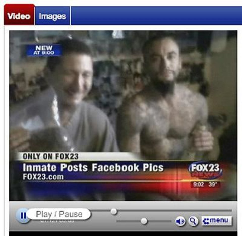 Photo - In screen shots from Fox23 (Tulsa) video, Justin Lee Walker is shown in photos he posted on Facebook. Walker, who was imprisoned at the Oklahoma State Reformatory in Granite for the 2001 murder of Pawnee County Sheriff Dwight Woodrell, has been moved to the Oklahoma State Penitentiary.