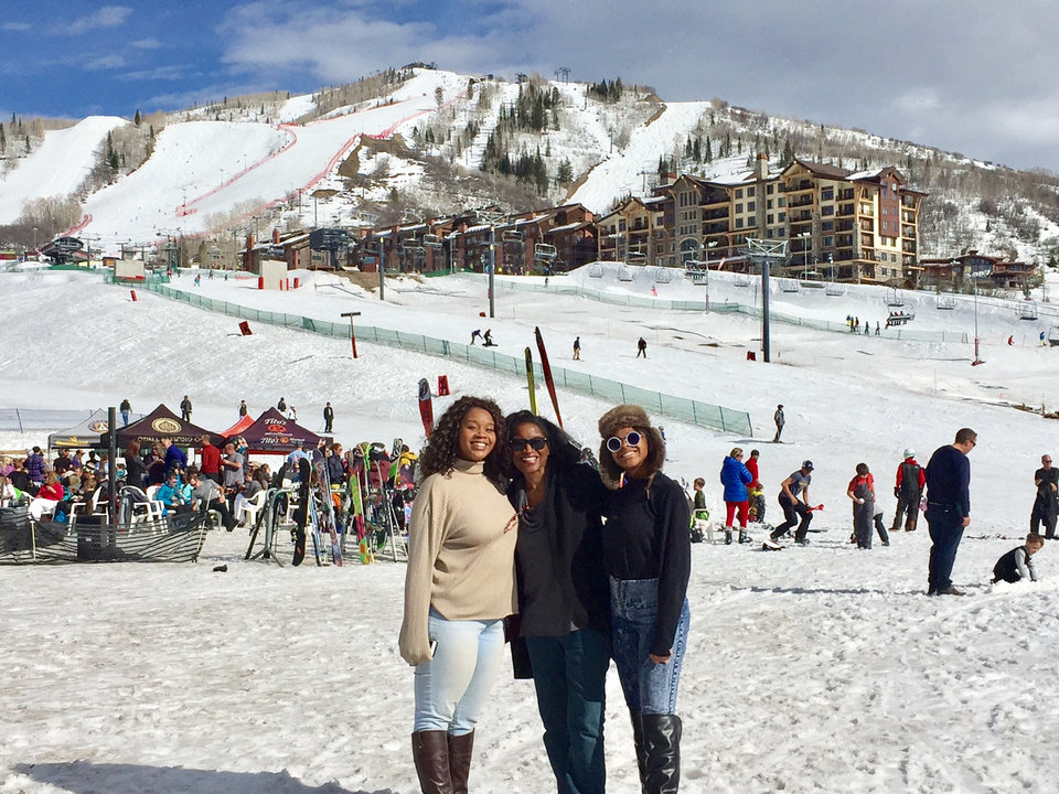 Carla Meadows and her family on the slopes of Steamboat Springs.