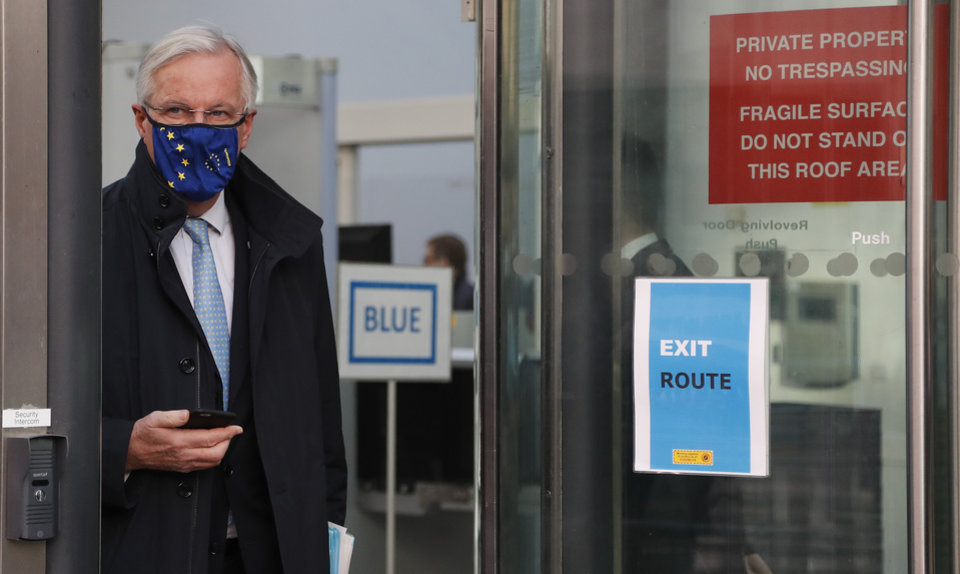 Photo -  European Commission's Head of Task Force for Relations with the United Kingdom Michel Barnier leaves the Conference Centre in London, Thursday, Nov. 12, 2020. With less than two months to go before the U.K. exits the EU's economic orbit, trade deal talks resume in London. (AP Photo/Frank Augstein)