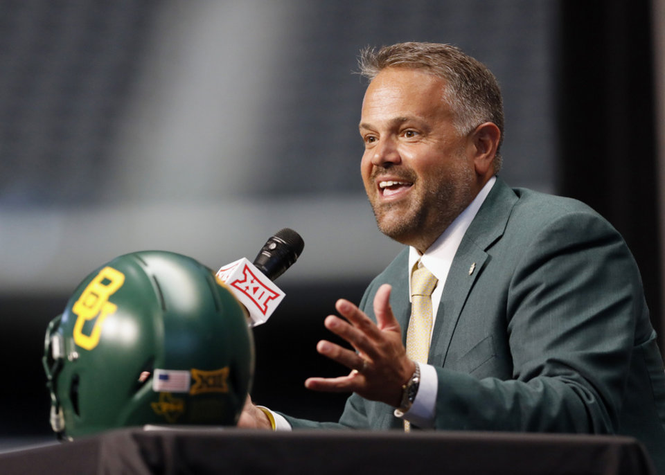 Photo - Baylor head coach Matt Rhule speaks during Big 12 Conference NCAA college football media day Tuesday, July 16, 2019, at AT&T Stadium in Arlington, Texas. (AP Photo/David Kent)