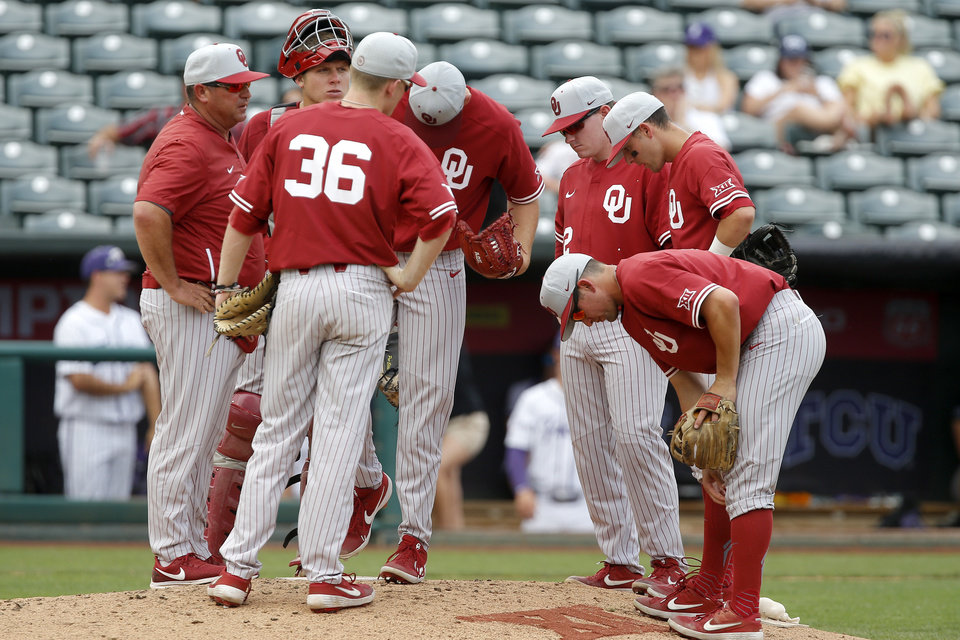 Photo - Oklahoma coach Skip Johnson talks with his team at the mound during the fourth inning of a Big 12 baseball tournament game between the University of Oklahoma (OU) and TCU at Chickasaw Bricktown Ballpark in Oklahoma City, Okla., Thursday, May 23, 2019.  [Bryan Terry/The Oklahoman]