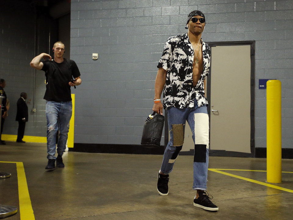Photo -  Oklahoma City's Russell Westbrook arrives Wednesday for Game 2 in the first round of the NBA playoffs between the Oklahoma City Thunder and the Houston Rockets in Houston. [Photo by Sarah Phipps, The Oklahoman]