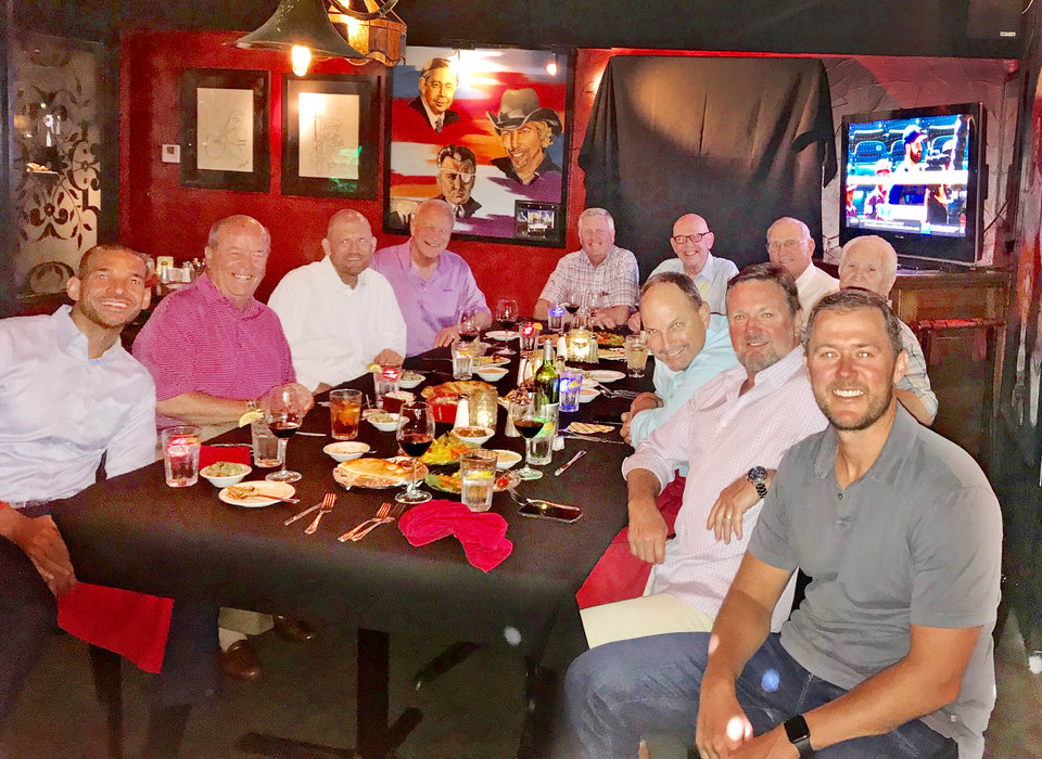 Photo - Zac Selmon, Blake Wade, Clay Bennett, Barry Switzer, Jim Couch, Tom McDaniel, Dick Ellis, Lee Allan Smith, Joe Castiglione, Bob Stoops, Lincoln Riley. PHOTO PROVIDED