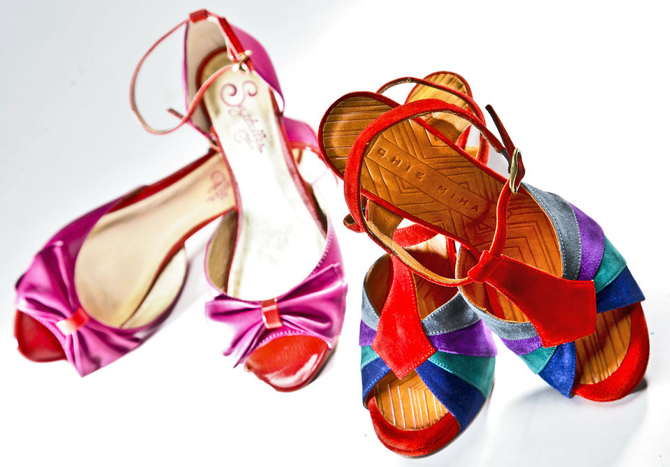 Photo - Left: pink and orange two-tone flat sandals by Seychelles, sold at Pink Sugar. Right: Chie Mihara multicolor suede heels, sold at Heirloom Shoe. Chris Landsberger, The Oklahoman.  CHRIS LANDSBERGER
