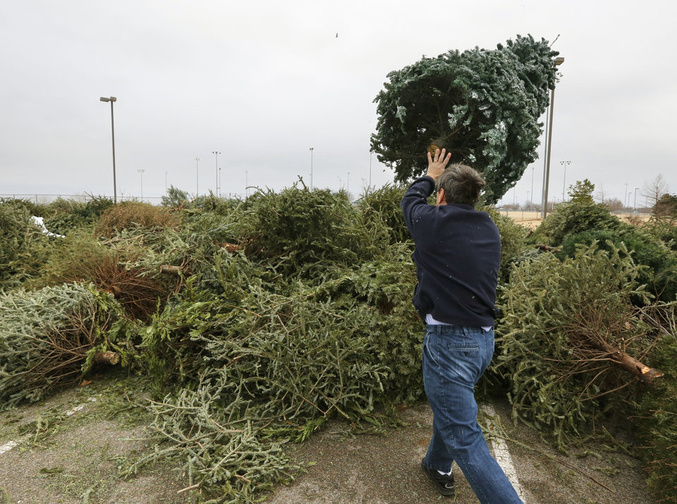 Free Christmas Tree Pick Up Part - 16: Photo - Jordan Metcalf, Of Edmond, Tosses His Familyu0027s Christmas Tree Onto  A Pile