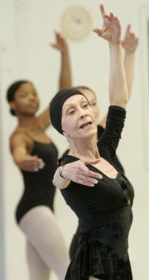 Photo -  In a 2004 photo, Jo Rowan dances with students during a class. Rowan, chairman of the Ann Lacy School of American Dance & Entertainment and founder of the Oklahoma City University dance program, will receive a Governor's Arts Awards on Tuesday. [The Oklahoman Archives]