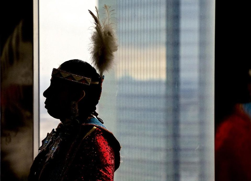 Photo - The nonprofit Red Earth Inc. invited Native American dancers, artists, princesses and more to attend a press conference at the Petroleum Club in Oklahoma City, Okla. on Monday, Feb. 17, 2020. The news conference announced a new location for the annual Red Earth Festival, a new fall event to mark Oklahoma City's Indigenous Peoples Day and the launch of arts events around the state. [Chris Landsberger/The Oklahoman]