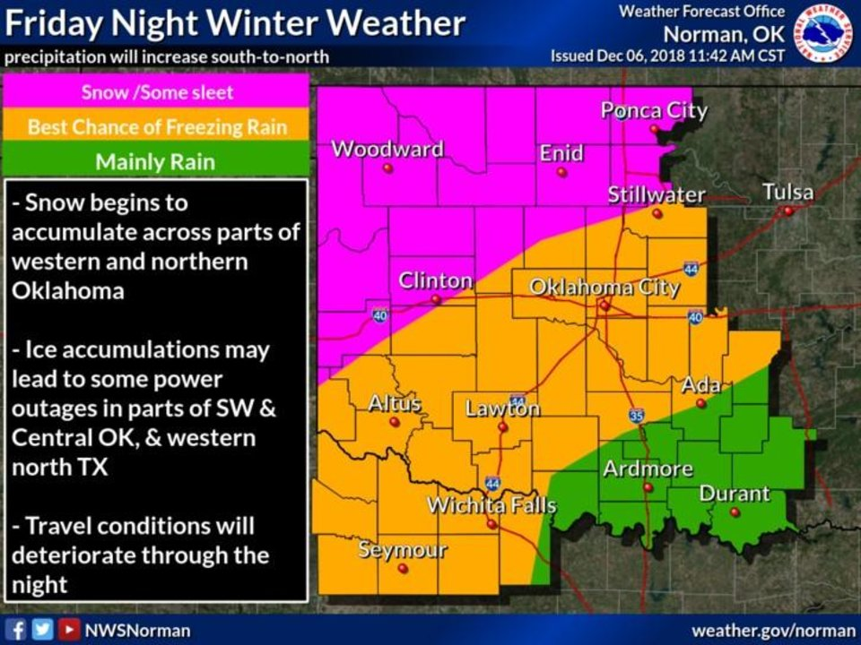 Photo - Winter weather is expected in Oklahoma beginning Friday, forecasters say. [Image provided by the National Weather Service]