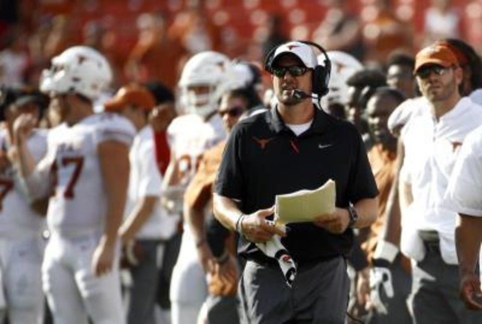 Photo -  College football pundits expected Texas coach Tom Herman and his Longhorns to make big strides in his second season in Austin. Instead, they started the season Saturday with a loss to a Maryland team that has spent much of the summer in turmoil. [AP PHOTO]
