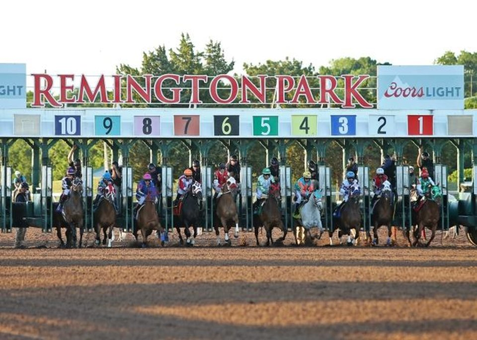 Photo -  The starting gate at Remington Park on Sunday. Horse racing has continued at Remington Park since March 19 with no fans. [Dustin Orona/Remington Park]