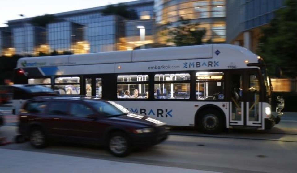 Photo -  If approved, funding for transit proposed as part of MAPS 4 would include expanding the EMBARK bus fleet to increase frequency and drop overall schedules to less than 30 minutes. [DOUG HOKE/THE OKLAHOMAN]