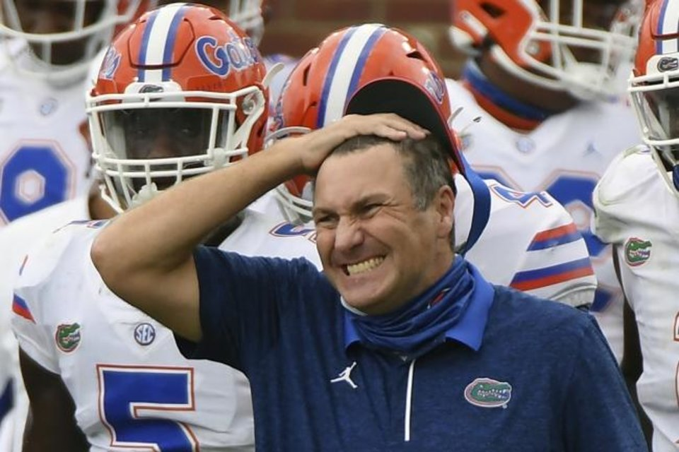Photo -  Coach Dan Mullen and Florida head to the Cotton Bowl against Oklahoma on Dec. 30 on a two-game losing streak with losses to LSU and Alabama. [AP Photo/Thomas Graning]