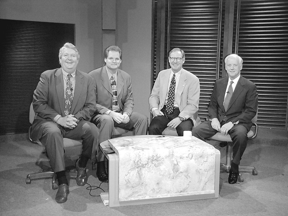 "Photo - KFOR's ""Flashpoint"" cast members Mike Turpen, from left, moderator Kevin Ogle and Burns Hargis are joined by Gov. Frank Keating during a recent taping."