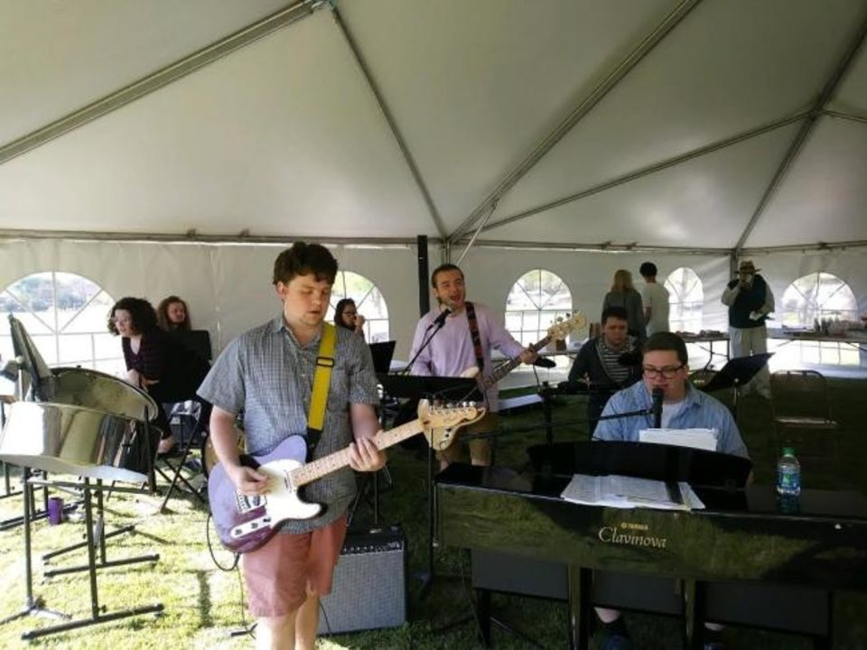 Photo -  Musicians perform music during an outdoor worship services and other activities held at Nichols Hills United Methodist Church on the day of the Oklahoma City Memorial Marathon. [Photo provided]