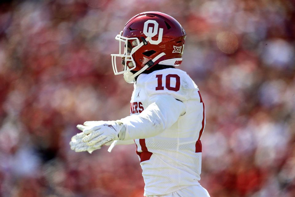 Photo - Oklahoma's Pat Fields (10) celebrates a play in the second quarter during the Red River Showdown college football game between the University of Oklahoma Sooners (OU) and the Texas Longhorns (UT) at Cotton Bowl Stadium in Dallas, Saturday, Oct. 12, 2019. OU won 34-27. [Sarah Phipps/The Oklahoman]