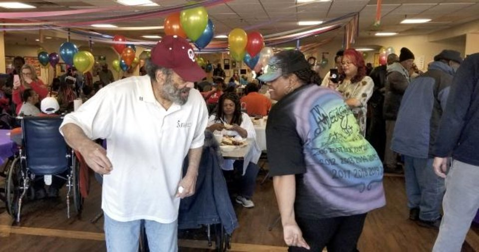 Photo -  Margaret Wright, at right, dietary manager at  Kingwood Skilled Nursing and Therapy, and her team put in a lot of hours of work to get ready for the Soul Food Festival. She still found time for dancing during the event and said it is